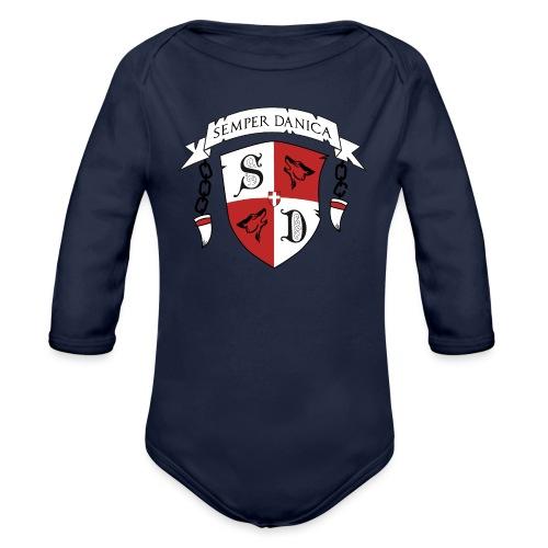 SD logo - sorte lænker - Langærmet babybody, økologisk bomuld