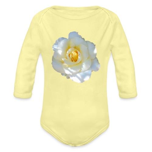 A white rose - Organic Longsleeve Baby Bodysuit
