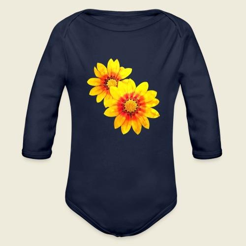 Leuchtende gelbe Blumen - Baby Bio-Langarm-Body