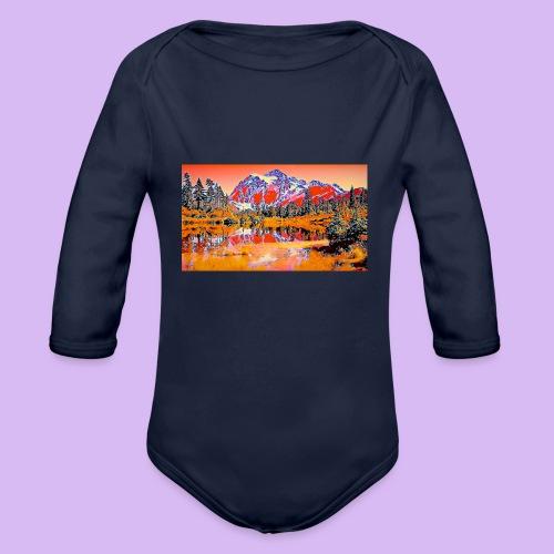 Montagne rosse punteggiate - Body ecologico per neonato a manica lunga