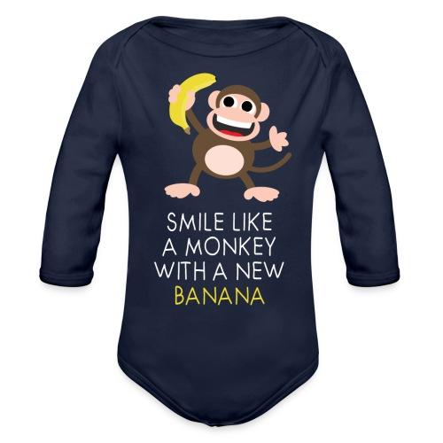 Monkey with banana - Baby Bio-Langarm-Body