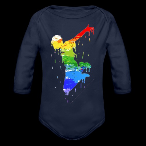 jump design paint - Organic Longsleeve Baby Bodysuit
