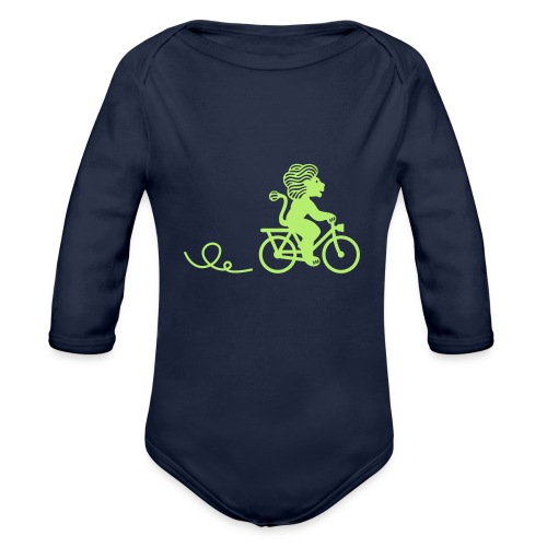 Züri-Leu beim Velofahren ohne Text - Baby Bio-Langarm-Body