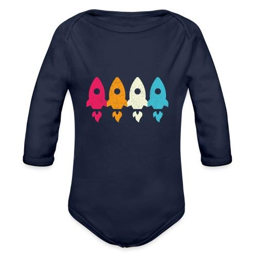 Retro Vintage Rakete Raumschiff Kinder Baby - Baby Bio-Langarm-Body