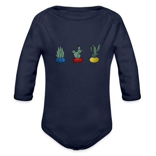 Primary cactus - Langærmet babybody, økologisk bomuld