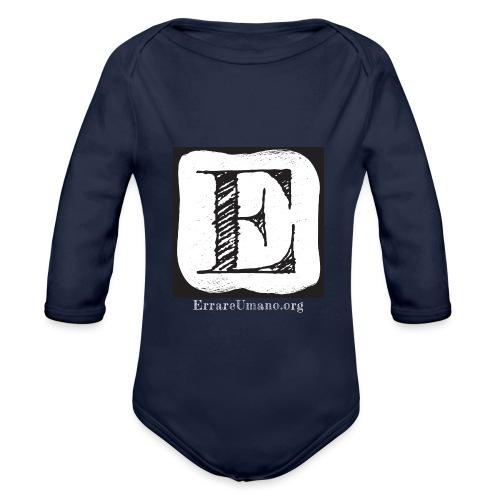 Logo ErrareUmano con scritta bianca - Body ecologico per neonato a manica lunga