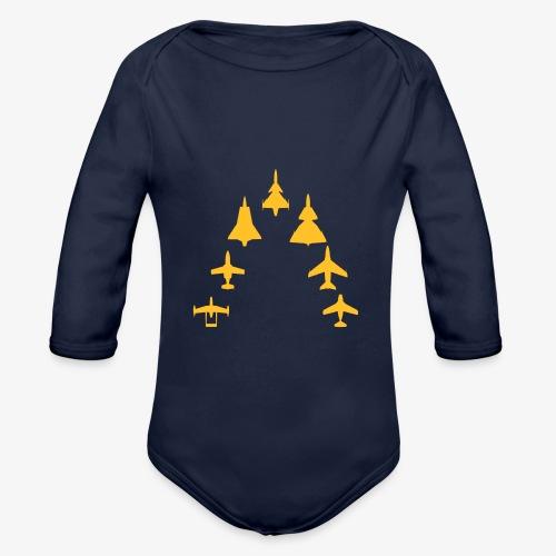 Swedish Air Force - Jet Fighter Generations - Ekologisk långärmad babybody