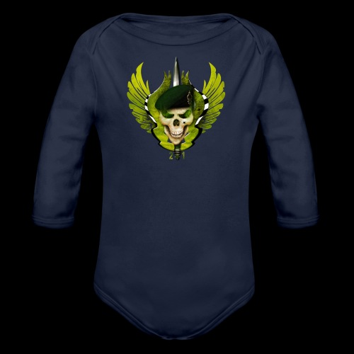 Two One Military Denim skull little Wings - Body Bébé bio manches longues