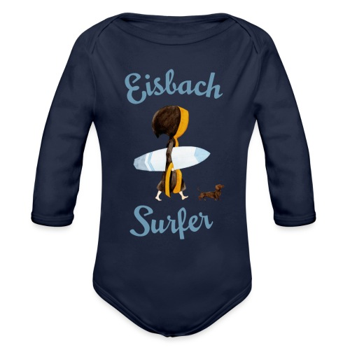 Münchner Kindl mit Surfbrett und Dackel - Baby Bio-Langarm-Body