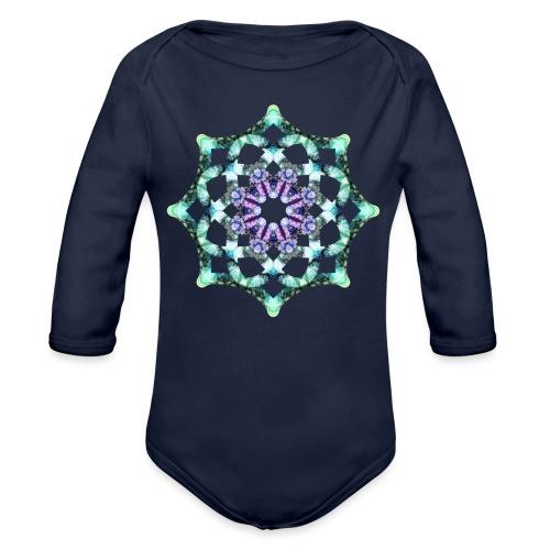 Yoga Mandala Symbol grün - Baby Bio-Langarm-Body