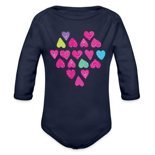 I love you Herz aus Herzen mit Doodle Textur - Baby Bio-Langarm-Body