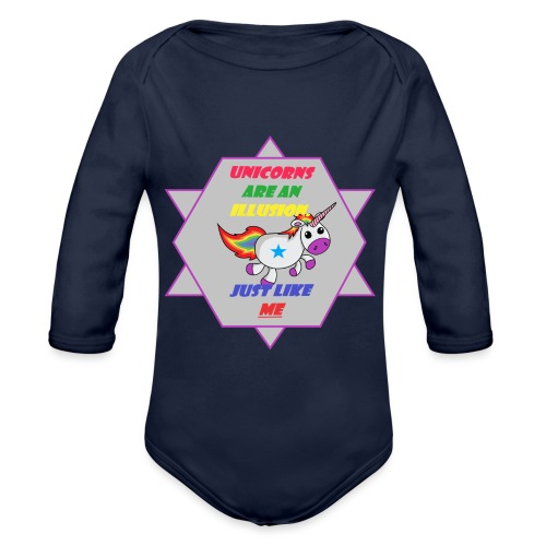 Unicorn with joke - Organic Longsleeve Baby Bodysuit