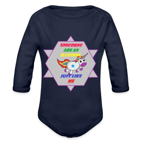 Unicorn with joke - Organic Longsleeve Baby Bodysuit