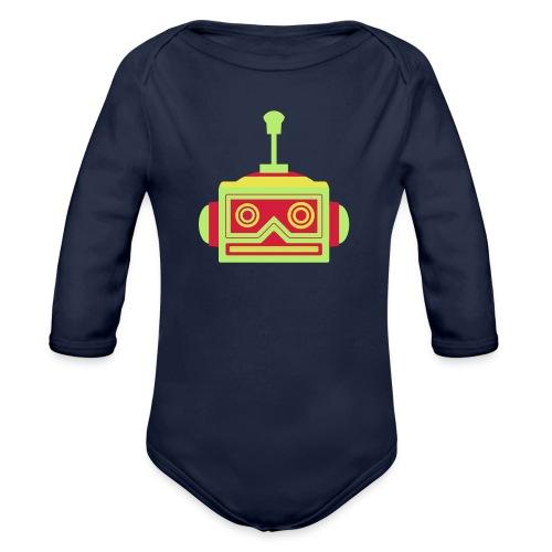 Robot head - Organic Longsleeve Baby Bodysuit