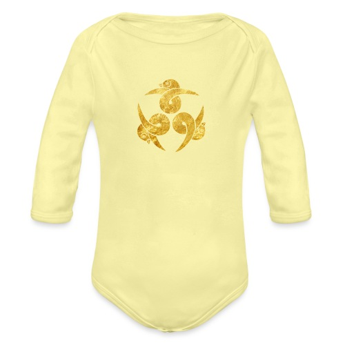 Three Geese Japanese Kamon in gold - Organic Longsleeve Baby Bodysuit