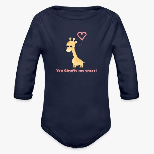 Giraffe Me Crazy - Langærmet babybody, økologisk bomuld