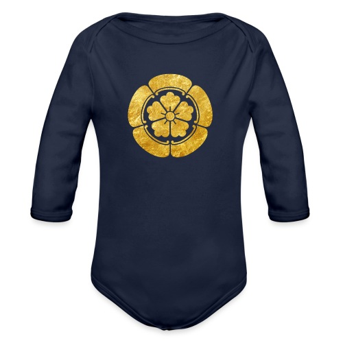 Oda Mon Japanese samurai clan faux gold on black - Organic Longsleeve Baby Bodysuit