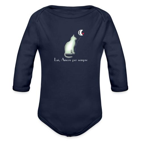 GATTO-E-LUNA - Body ecologico per neonato a manica lunga