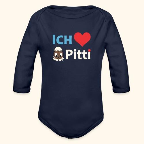 Pittiplatsch Ich liebe Pitti auf dunkel (blau/crem - Baby Bio-Langarm-Body