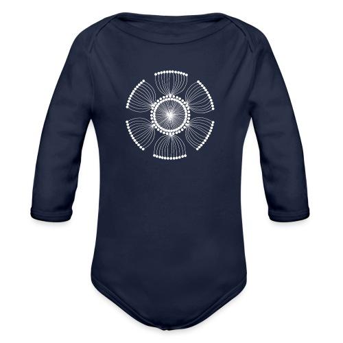 White Poppy Seed Mandala II - Organic Longsleeve Baby Bodysuit