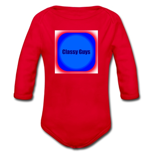 Blue and red logo - Organic Longsleeve Baby Bodysuit