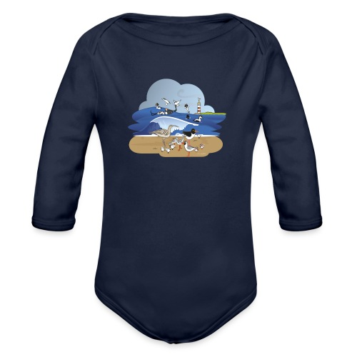 See... birds on the shore - Organic Longsleeve Baby Bodysuit