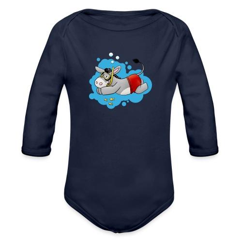 Esel - Kuschelesel geht schwimmen - Baby Bio-Langarm-Body