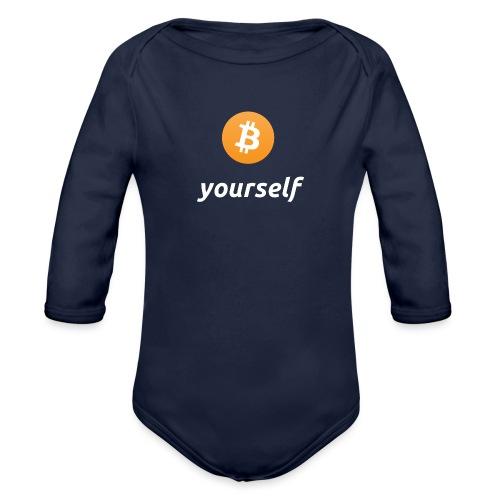 cryptocool b yourself white font -bitcoin logo - Baby bio-rompertje met lange mouwen