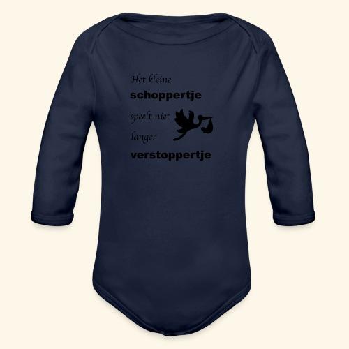 Schoppertje speelt verstoppertje - Baby bio-rompertje met lange mouwen