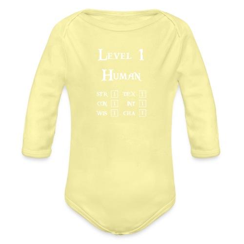 Level 1 Human - Wit - Baby bio-rompertje met lange mouwen