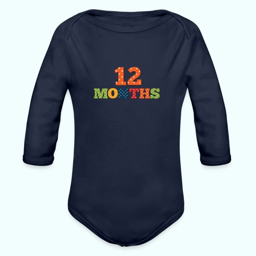 Twelve 12 months old baby print photography prop - Organic Longsleeve Baby Bodysuit