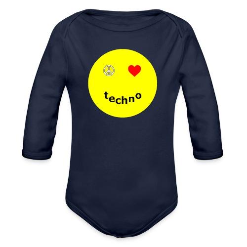 camiseta paz amor techno - Body orgánico de manga larga para bebé