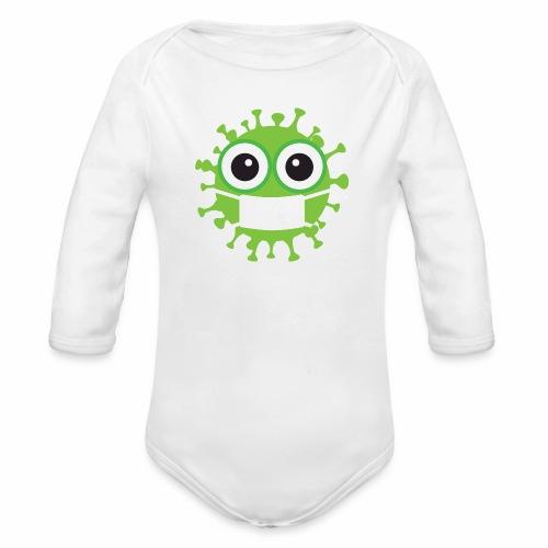 Uśmiechnij się pod maską - Ekologiczne body niemowlęce z długim rękawem