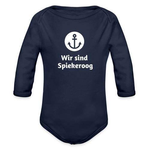 Wir sind Spiekeroog Logo weiss - Baby Bio-Langarm-Body