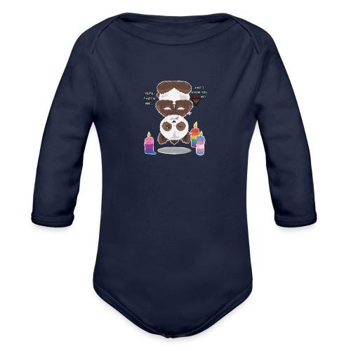 Panda Love - Langærmet babybody, økologisk bomuld