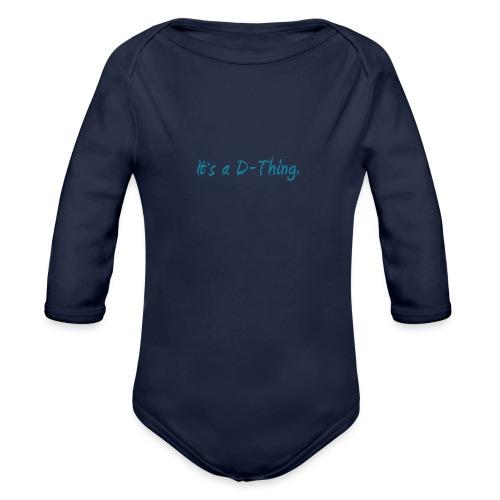 DTWear - It`s a D-Thing - Blue / Blauw - Baby bio-rompertje met lange mouwen