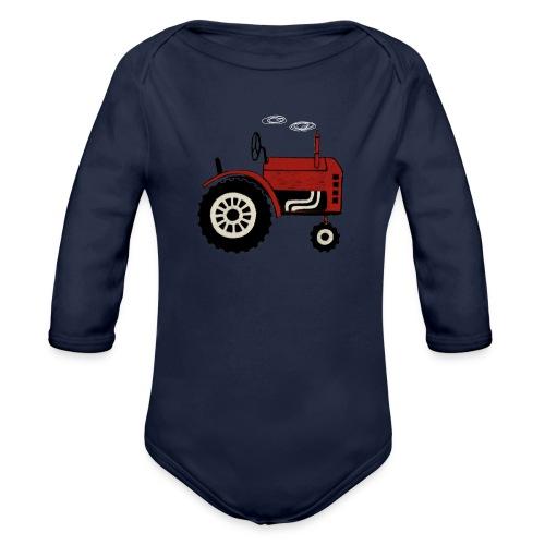 tractor - Baby bio-rompertje met lange mouwen
