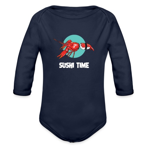 SUSHI TIME-gambero-b - Body ecologico per neonato a manica lunga