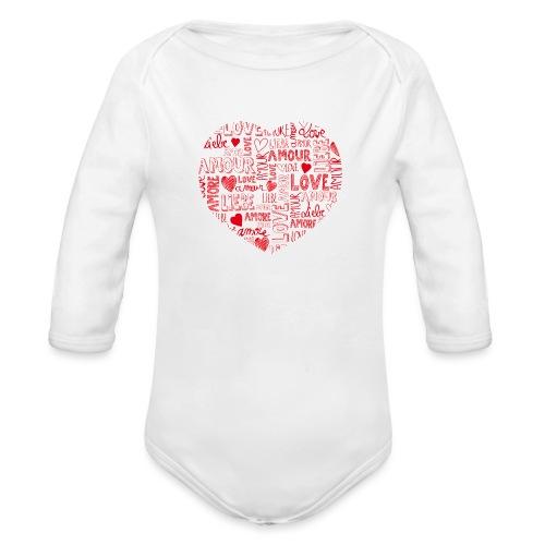 T-shirt texte amour - Body Bébé bio manches longues