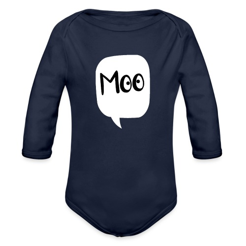 bubble moo black design - Organic Longsleeve Baby Bodysuit