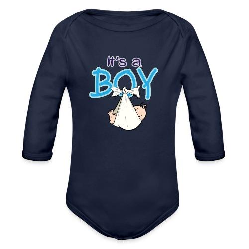 Babyshower Boy Blauw - Baby bio-rompertje met lange mouwen