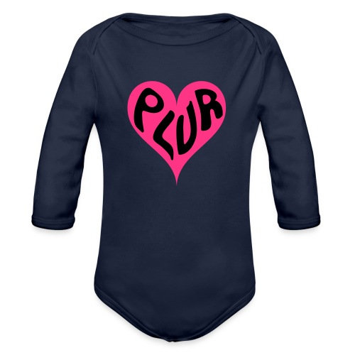 PLUR - Peace Love Unity and Respect love heart - Organic Longsleeve Baby Bodysuit