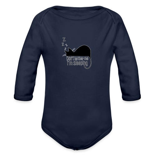 Sleeping cat black - Organic Longsleeve Baby Bodysuit