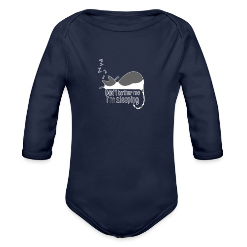 Sleeping cat gray white - Organic Longsleeve Baby Bodysuit