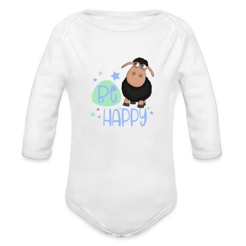 Schwarzes Schaf - Be happy Schaf - Glücksbringer - Baby Bio-Langarm-Body