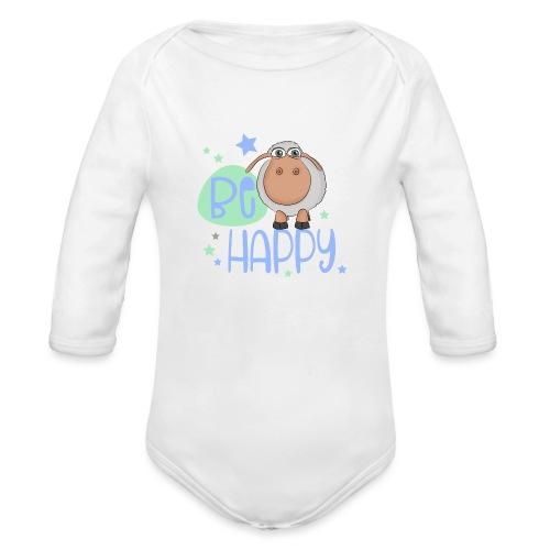 Be happy Schaf - Glückliches Schaf - Glücksschaf - Baby Bio-Langarm-Body