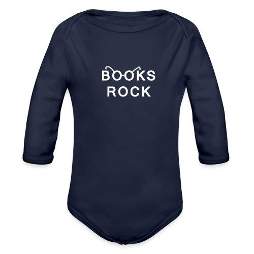 Books Rock White - Organic Longsleeve Baby Bodysuit