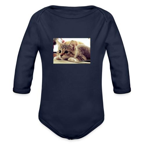gato tierno - Body orgánico de manga larga para bebé