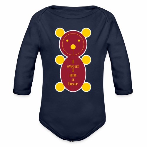 I swear I am a bear 001 - Baby bio-rompertje met lange mouwen