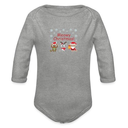Meowy Christmas - Organic Longsleeve Baby Bodysuit
